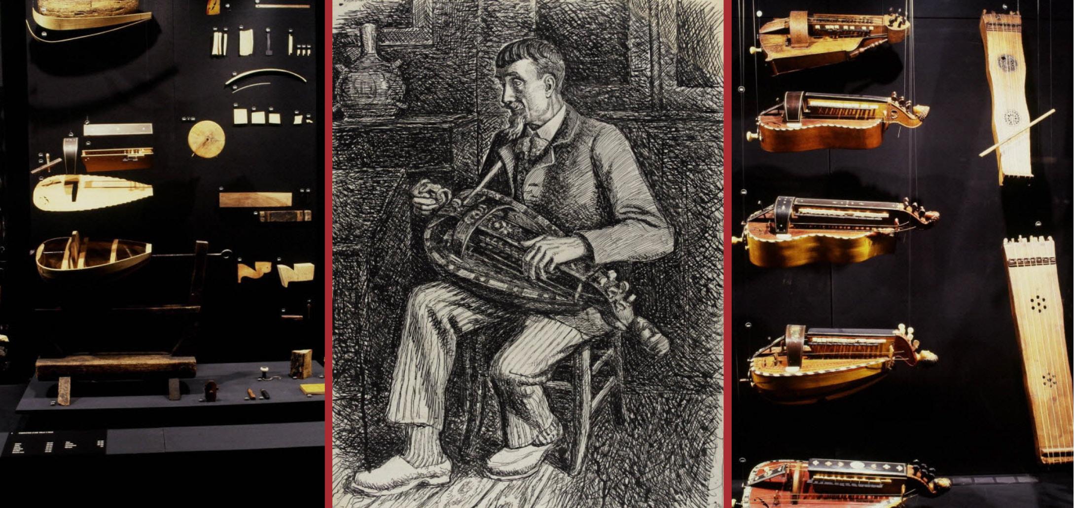 Vue de la galerie scientifique du Musée national des arts et des traditions  populaires, présentant les étapes de fabrication d une vielle à roue et le  ... c3447992a1b